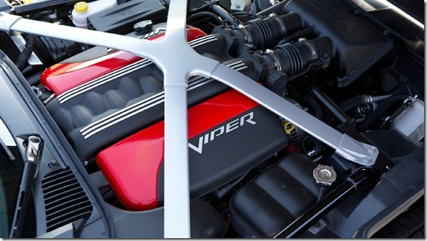 "Under the hood of the 2013 SRT Viper models is the all-aluminum, mid-front 8.4-liter V-10 engine that delivers 640 horsepower and 600 lb.-ft. of torque – the most torque of any naturally aspirated sports car engine in the world.  The new aluminum ""X"" brace ties the suspension pickup points to the magnesium cowl super casting and contributes to improved torsional rigidity and stiffness."